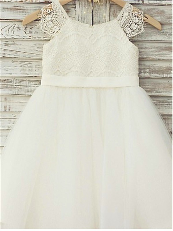 Princess Scoop Sleeveless Lace Tea-Length Tulle Flower Girl Dress