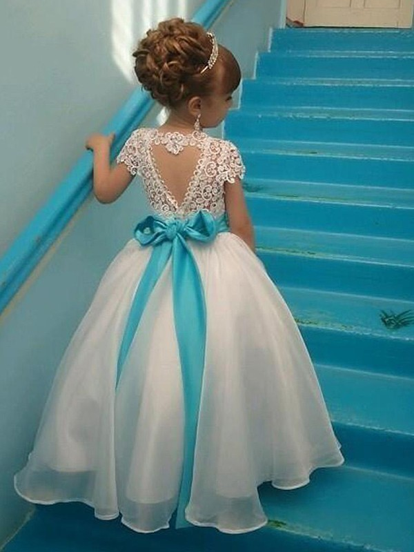 Ball Gown Short Sleeves Scoop Floor-Length Organza Flower Girl Dress